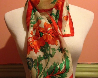 Vintage Red and Green Floral Scarf // Long Floral Scarf
