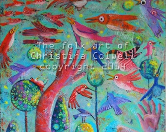"Let the Fowl Fly Above the Earth, Instant Download 8"" X 10""  printable art from original acrylic painting contemporary raw folk art"