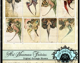 Butterfly Girls, Art Nouveau Fairies , Butterfly Wings, Collectable Postcard Printable Collage Sheets