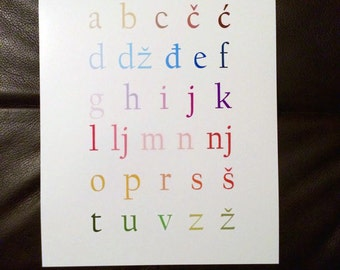 Croatian Alphabet Art Print - 8x10
