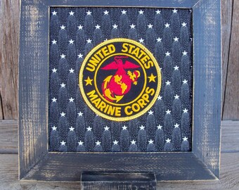 Framed US Marine Corps Emblem Patch Stitchery, Military, United States, Red, Gold, Eagle, Stars, Handmade, Retirement Gift, Veteran Gift