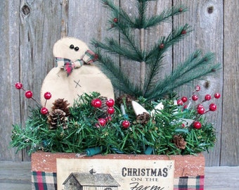 Christmas on the Farm Light Up Decoration, Farmhouse Christmas, Holiday Arrangement, Feather Tree, Rustic,Snowman, Star, Handmade