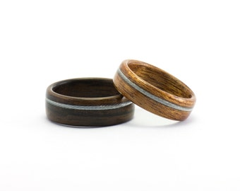Wooden Rings, Wooden Wedding Rings, Wood Rings, Wedding Bands, Bicycle Cable Rings, Ebony Wood Ring, Mahogany Wood Band, Bentwood Rings Set
