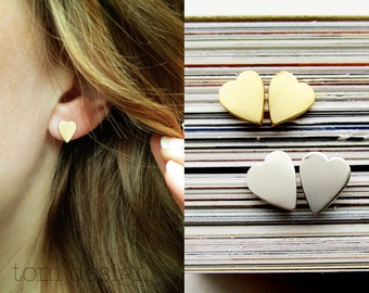 Heart Earrings - Gold or Silver Heart Post Earrings Heart Stud Earrings Sterling Silver Heart Earrings, Valentines Gift Bridal Gift