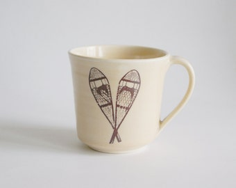 Snowshoe Cup - Light Yellow Mug - Porcelain Mug with Snowshoe - Ceramic Cup with Snowshoe