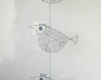 Three Wire Bird Sculptures In Blue / Window Hangings / Metal Ornaments