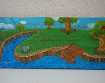 Animal crossing painting on reclaimed wood summer time for Animal crossing mural