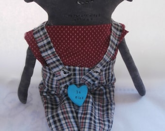 Handmade Primitive Folk Art Grungy Valentine's Day Doll - Sweet Joe