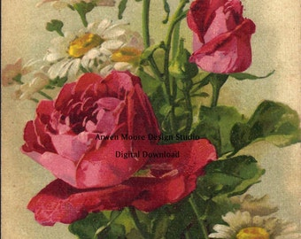 Shabby Vintage Chic Victorian Postcard Klein Collection Beautiful Lush Red Roses Digital Download Images - dg-Klein-19-2