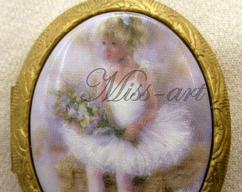 Little Blond Girl Ballerina Ballet Lacy Tutu Dancer Porcelain Cameo Solid Brass Locket & Chain Necklace Miss-art SparklingTreasures2U