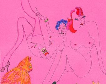 Pink Cat Ladies II / ORIGINAL Drawing / Cat art / Lesbian / Queer Art/ Blind Contour/ Nude/ Women/ Cats