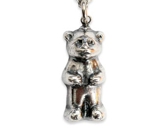 CLEARANCE - Gummy Bear Necklace Silver Gummy Bear Pendant Necklace Gummy Bear Charm 443