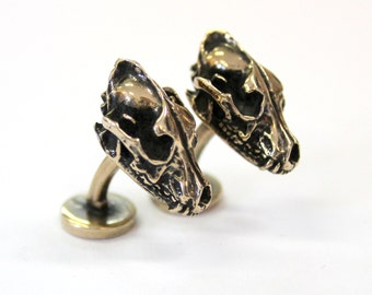 Wolf Skull Cufflinks Bronze Wolf Skull Cuff Links Wolf Skull Jewelry Mens Accessories 440
