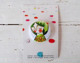 Green girl pin, spring portrait button brooch