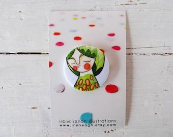 Green girl pin, spring portrait button brooch