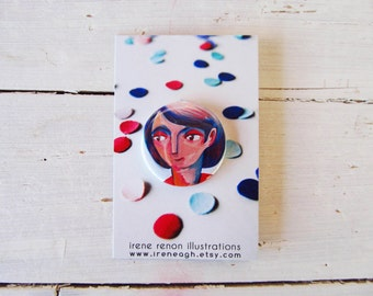 Girl potrait pin, illustrated button brooch