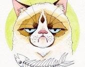 Grumptastic - Grumpy Cat Watercolor Illustration Print