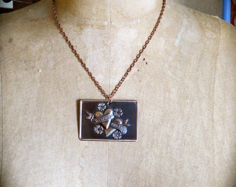 SIEMPRE JUNTOS -  Sacred Heart Intricate Copper Milagro Necklace- Perfect gift for your loved one