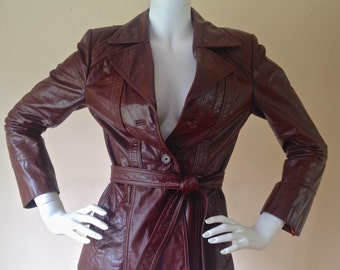 Vintage 1970's Burgundy Brown Belted Leather Jacket From 'Berman's' with Removable Zip Linging