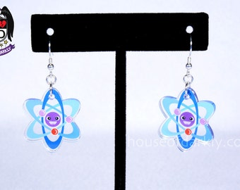 Adorable Atom translucent acrylic earrings for science fans nickel free