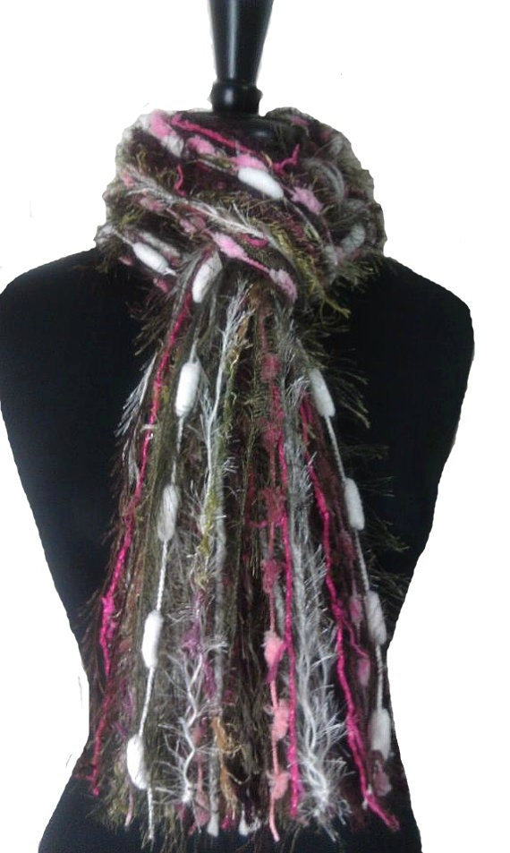 fringe scarf womens knotted scarves green by florasfinest