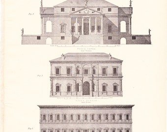 1894 Architecture Print - Vintage Antique Art Illustration History Geography Great for Framing 100 Years Old