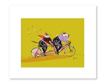 Cycling Cat Print - Bike Art - Bike Lover - Cat Lover