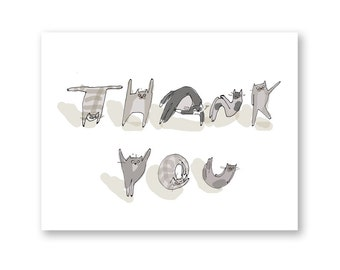 Funny Thank You Card - Cat Alphabet 2 - Thank You Cat Card