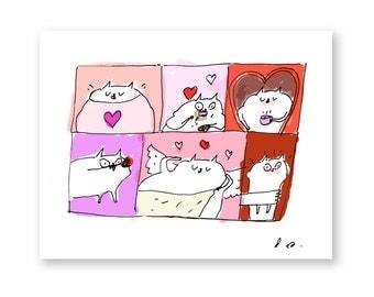 Funny Valentine Card - Cat Valentine - Day of Love - Valentines Day Card Set- Funny Valentine