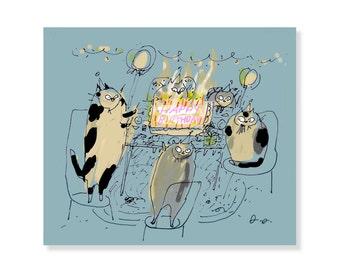 Birthday Cat Card - Birthday Cake - Funny Birthday Card