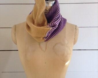 The Union Menswear Cowl in Camel/Mango/Purple