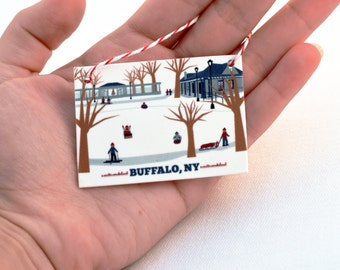 Buffalo, NY Delaware Park Ornament, gift for him or her, under 10