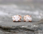 Uncut Diamond Earrings - 14K Rose Gold - Conflict Free Diamonds - Pink Gold Diamond Earring Studs - Made in Canada - Uncut Rough Raw Diamond