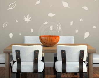 Set of 24 Fall Leaves Vinyl Wall decal sticker lettering Thanksgiving diy home decor