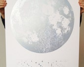 Blue Silver 2015 Moon Phases Calendar, 22x30 large screen print, ice silver glitter print on white, frosty luna lunar wall art, space, stars