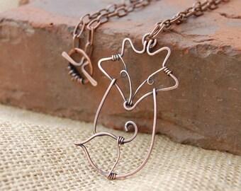 Fox. Fox Necklace. Wire Fox. Copper. Oxidized. Wire Jewelry