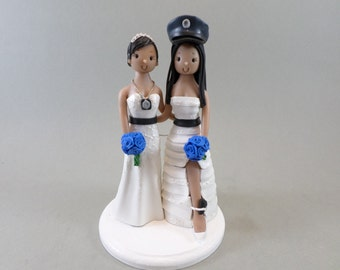 Same Sex Couple Custom Made Plice Wedding Cake Topper