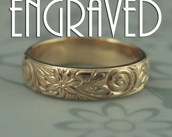 Crazy Daisy Ring-Solid 14K Yellow Gold-Floral Wedding Band-Engraved Wedding Ring-Made to Size-Flowers and Swirl Pattern Band-Elegant Ring