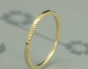 18K Gold Wedding Band--Thin Flat Wedding Ring--18K Gold Spacer Ring--Thin Gold Band--Square Gold Ring--Gold Stacking Ring
