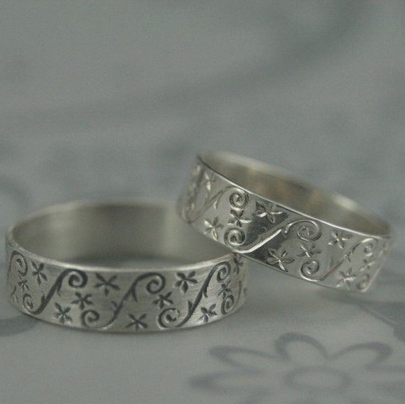 Silver Patterned BandGypsophilaWhimsical RingBaby's