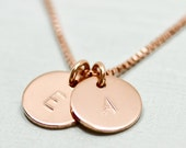 Rose gold initial necklace - rose gold necklace - dainty rose gold jewelry - minimalist necklace - delicate disc necklace - initial jewelry