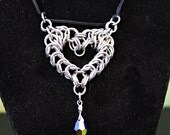 Chainmail Valentines Heart pendant necklace stainless steel Swarovski Crystal Jet Black AB Rainbow
