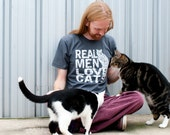 Cat shirt, Real Men Love Cats, funny t-shirt, American Apparel, boyfriend tshirt, Crazy Cat Dude, hipster, gift for him, cats, catman