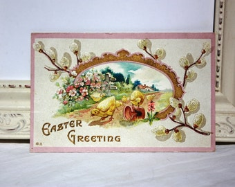 Vintage Easter Postcard Embossed with yellow baby chicks, white pussywillows, pink flowers 1912