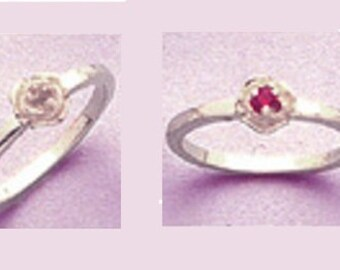 Sterling Silver ~ 2mm Round Petite Birthstone Ring setting ~ Custom sized from size 4 to size 11  ~ to be ordered ~ #8750200 ~ FDK