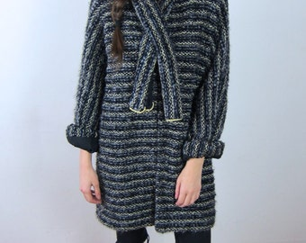 Striped Overcoat with Matching Scarf