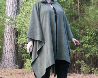 Olivene - Hooded AntiPill Fleece Poncho or Cape OD Military Green
