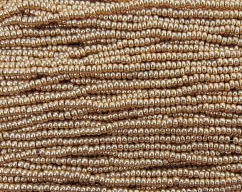 8/0 Shiny Metallic Gold Czech Glass Seed Bead Strand (CW15)