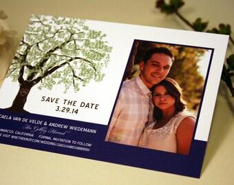 SAMPLE Oak Tree Photo Save the Date Wedding Card, Grandfather Oak Tree, Rustic, Modern Invitation, RSVP, Save the Date, Brown, Green