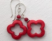 Red Earrings. Sterling Silver, Coral, Quatrefoil, Moroccan Tile. Modern Jewelry